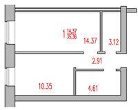 1-комнатная квартира 35.36 кв. м