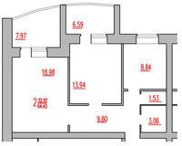 2-комнатная квартира 64.43 кв. м